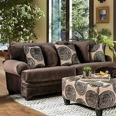 rosalinda transitional brown microfiber sofa with accent