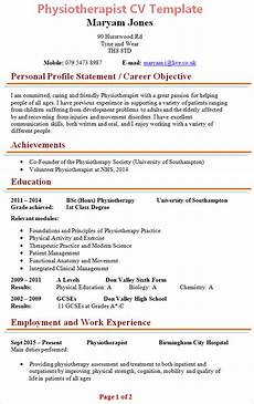 Physiotherapy Resume Sample Physiotherapist Cv Template 1