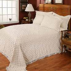 cotton chenille bedspread tufted coverlet white ivory