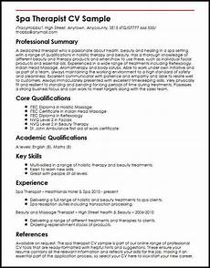 Spa Therapist Cv Spa Therapist Cv Sample Myperfectcv