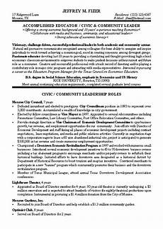 Political Resume Examples Civic Leader Political Resume Example