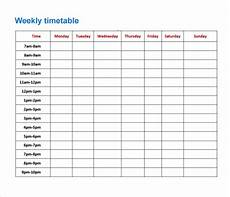 Blank Revision Timetable Template Free 8 Sample Timetables In Pdf Excel