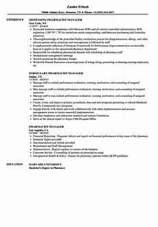Pharmacy Manager Resume Pharmacist Manager Resume Samples Velvet Jobs