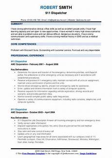 Resume For 911 Dispatcher 911 Dispatcher Resume Samples Qwikresume