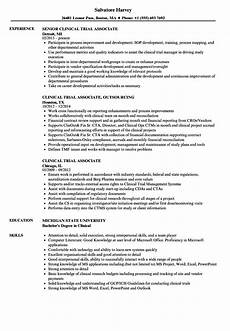 Clinical Trial Manager Resume Clinical Trial Associate Resume Samples Velvet Jobs