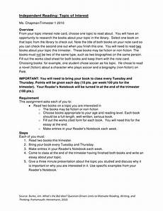 Essay About Reading Independent Reading Essay Presentation Assignment