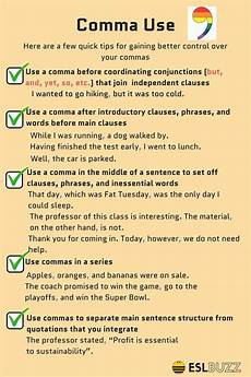 When Do I Use A Comma Rules For Comma Usage How To Use Commas Correctly Esl Buzz