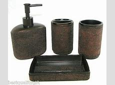 4 PC SET BROWN COPPER RESIN DOT DESIGN SOAP DISPENSER