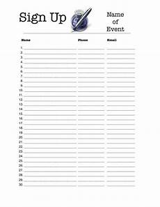 Sign Up Chart Sign Up Sheet Template Peerpex