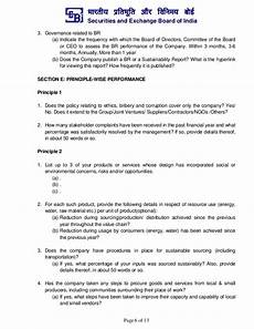 Board Report Format Format For Business Responsibility Report Brr