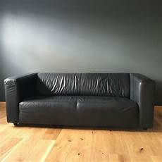 black faux leather ikea klippan sofa in condition