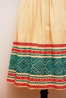 Aztec Design Skirts Vintage 1970s Folk Mexican Embroidery Skirt Aztec Design