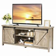 costway tv stand media center console cabinet sliding barn