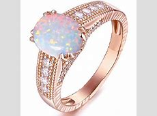 Peermont   White Fire Opal 18kt Rose Gold Tone Engagement
