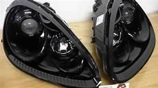 Custom Black Lights Porsche Cayenne Custom Black Headlights W Lens Etching