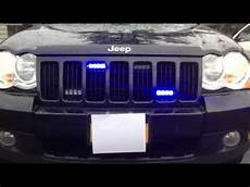 Jeep Grill With Lights Jeep Grand Cherokee Blue Grille Lights Youtube