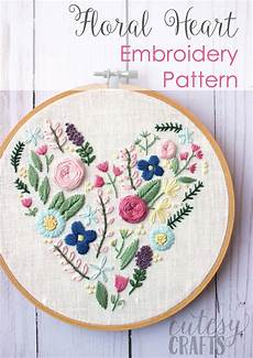 Embroidery Designs Floral Heart Hand Embroidery Pattern The Polka Dot Chair
