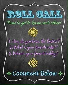 F B Hostess Roll Call Tupperware Party Ideas Facebook Party Games