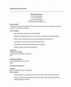 Plumbing Resume Samples 9 Sample Plumber Resume Templates Pdf Doc Free