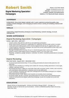 Marketing Specialist Resume Sample Digital Marketing Specialist Resume Samples Qwikresume