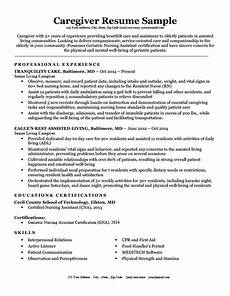 Caregiver Sample Resume Caregiver Resume Sample Amp Writing Tips Resume Companion