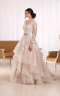tulle wedding dress with illusion lace sleeves weddings