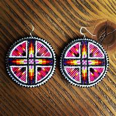 beaded quill earrings hotpink bead work beadwork