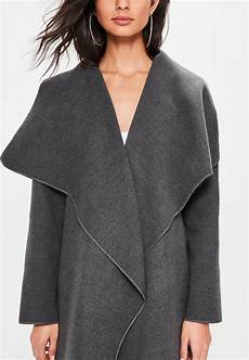 coats quarter sleeve oversized missguided grey oversized sleeve waterfall duster