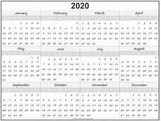One Year Calendar 2020 2020 Year Calendar Yearly Printable