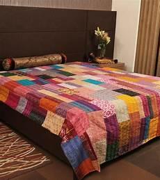 silk sari kantha throw bohemian kantha bedding patchwork