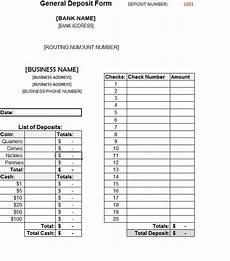 Deposit Template General Deposit Form Template Sample