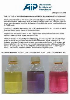 Gasoline Color Chart The Colour Of Australian Unleaded Petrol Is Changing To