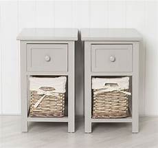 pair of shabby chic grey bedside units tables drawers with