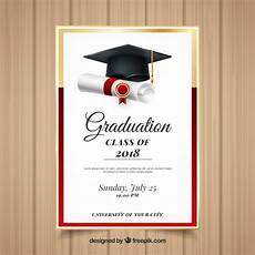 Graduation Card Design Elegant Graduation Invitation Template With Realistic