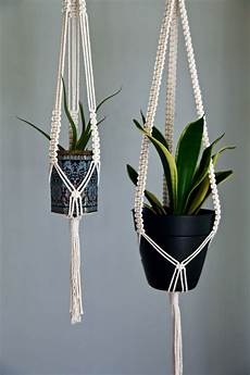 macrame plant hanger 40 quot white or black cotton rope 3