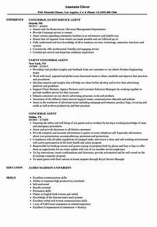 Concierge Resume Examples Concierge Agent Resume Samples Velvet Jobs