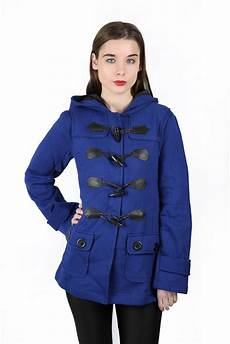 womens duffle toggle trench pocket hooded coat