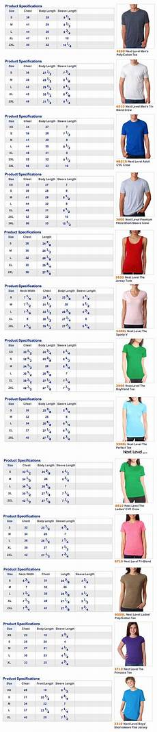 Connected Apparel Size Chart Next Level Apparel Size Chart Custom T Shirts From