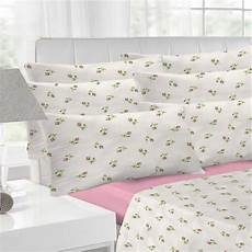 rosebud flannelette white pink sheet set bedding fitted