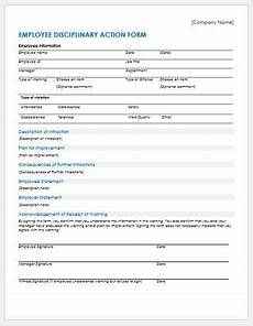 Employee Disciplinary Action Form Word Employee Disciplinary Action Forms For Ms Word Word