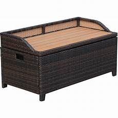 outsunny rattan storage cabinet cushion box chest bench