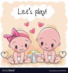 Cartoon Babies Pictures Two Cute Cartoon Babies Royalty Free Vector Image