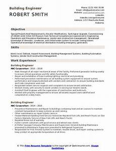 Resume Building Sites Building Engineer Resume Samples Qwikresume