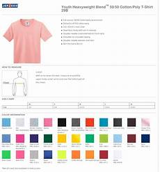 Jerzees Color Chart Youth Tee Shirt Tear Away Label True To Size Apparel