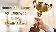 Employee Of The Month Award 187 Nomination Letter For Employee Of The Month Award