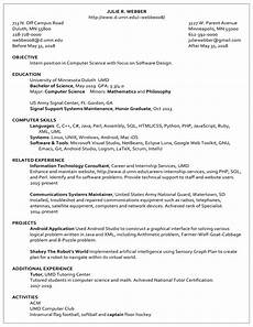 Resume Example Resume Examples Career Amp Internship Services Umn Duluth