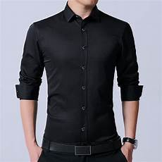 mens black dress shirts sleeve langmeng s dress shirt brand 2017 mens slim fit solid