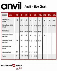 Anvil T Shirts Size Chart Anvil Size Chart Apparelnbags Com