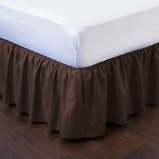 1 brown solid dressing bed skirt pleated with open corners