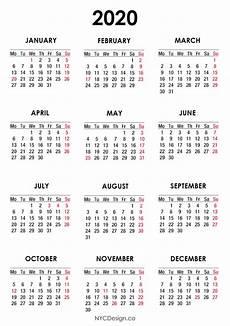 2020 Calendar Holidays Usa 2020 Calendar With Us Holidays Pdf Printable White